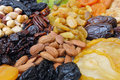 Dried Nuts and Fruits Collection Stock Photos
