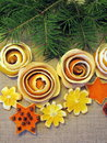 Dried orange fruits flowers different shape on linen fabric Royalty Free Stock Photography