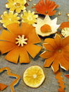 Dried orange fruits flowers on linen fabric Royalty Free Stock Photography