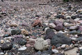 Dried out river bed with rocks and sand on floor Royalty Free Stock Photo