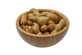 Dried peanuts in closeup isolatd on white Royalty Free Stock Photo