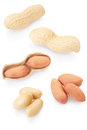 Dried peanuts collection on white background clipping path included Royalty Free Stock Photography