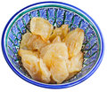 Dried pears in traditional bowl Royalty Free Stock Images