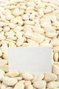 Dried Raw Lima Beans with Blank Card Royalty Free Stock Photos