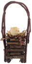 Dried rose flower basket a out made of wood Stock Photo