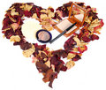 Dried rose petals and cosmetics Royalty Free Stock Photo