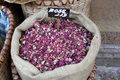 Dried rose petals a sack of pink at an old lebanese souk Stock Photo