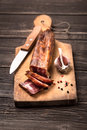 Dried sausage with garlic Royalty Free Stock Photography