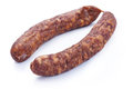 Dried sausage salami isolated on white background Royalty Free Stock Photo