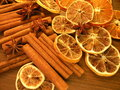 Dried spices and fruits cinnamon anise Royalty Free Stock Photography