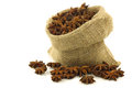 Dried star anise  (Illicium verum) in a burlap bag Royalty Free Stock Photography