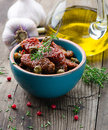 Dried tomatoes in a bowl Stock Image