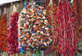 Dried vegetables hanging at a market Royalty Free Stock Photography