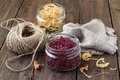 Dried vegetables, twine and linen cloth Royalty Free Stock Photo