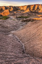Dried Waterway in Badlands Stock Photography