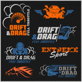 Drift, Drag racing, Tuning, Motor Sport - Set of cars logo