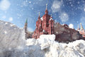 Drifts of snow on Red Square in Moscow Royalty Free Stock Photo