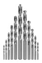 Drill bits of different sizes isolated on white background Stock Photography