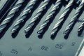 Drill bits macro of in box Royalty Free Stock Image