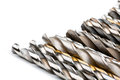 Drill bits various used twist in a row Stock Image