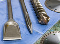 The drill pica blade a set of nozzles for the puncher still life Stock Photography