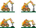 Drilling equipment. Heavy construction machines. Vector illustration