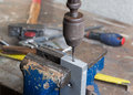 Drilling of metal with an hand drill Royalty Free Stock Photo