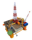 Drilling offshore platform oil rig isolated on white background d render Stock Photography