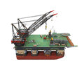 Drilling offshore platform oil rig isolated on white background d render Stock Image