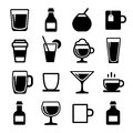 Drink and beverage icons set Stock Photo