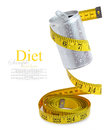 Drink can with measuring tape aluminum isolated on white Royalty Free Stock Image
