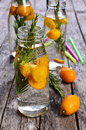 Drink with citrus and rosemary in a glass bottle water drops selective focus Stock Photos