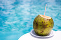 Drink Coconut  at  Poolside Royalty Free Stock Photo