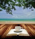 Drink coffee and read book on the beach with nice sea view Royalty Free Stock Photo