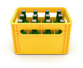 Drink crate with beer bottles d illustration Stock Photography