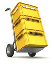 Drink delivery concept with hand truck and plastic crate Stock Photography