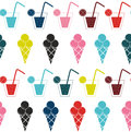 Drink and ice-cream seamless pattern background vector illustrat