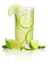 Drink with lime and mint ice isolated on white background Royalty Free Stock Photography
