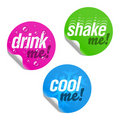 Drink me, shake me and cool me stickers Stock Photos