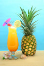 Drink and Pineapple Stock Photography