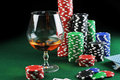 Drink and playing cards Royalty Free Stock Images