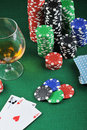 Drink and playing cards Royalty Free Stock Image