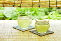 Drink of summer in japan shot japanese tea house a cold green tea Royalty Free Stock Images