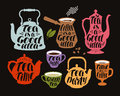 Drink, tea, coffee label set. Collection decorative elements for menu restaurant or cafe. Lettering, calligraphy vector