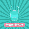 Drink water. Starburst blue background. Infographic. Flat design. Royalty Free Stock Photo