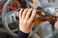 Drinking alcohol close up portrait of human while driving Stock Photography