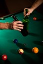 Drinking beer at snooker Stock Photos