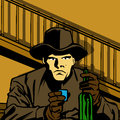 Drinking cowboy comic book style illustrated of a Stock Photo
