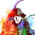 Drinking cowboy comic book style illustrated of a with speech bubble Royalty Free Stock Images