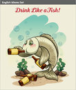 Drinking like a fish idiom poster showing the Royalty Free Stock Image